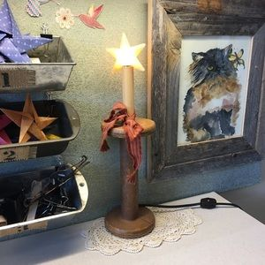 Vintage Country Wooden Spool Star Farm Chic Lamp